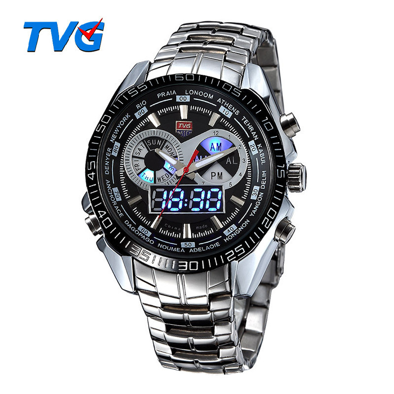Hot TVG Stainless Steel Black Men's Clock Fashion Blue Binary LED Pointer Watch Mens 30AM Waterproof sport Watches wholesale(China (Mainland))