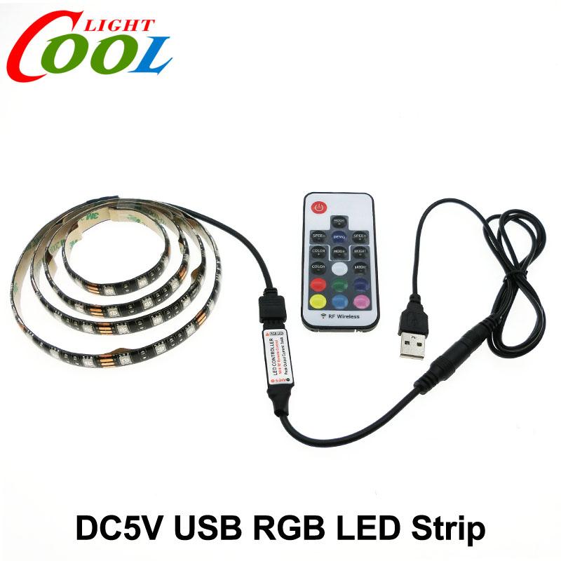 5v usb led strip 5050 rgb tv background lighting 60leds m with 17key rf controller 50cm 1m. Black Bedroom Furniture Sets. Home Design Ideas