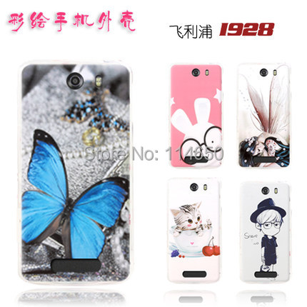 free shipping 2014 New arrived High quality Hard Cute cartoon pattern skin cover case for Philips i928 mobile phone case(China (Mainland))
