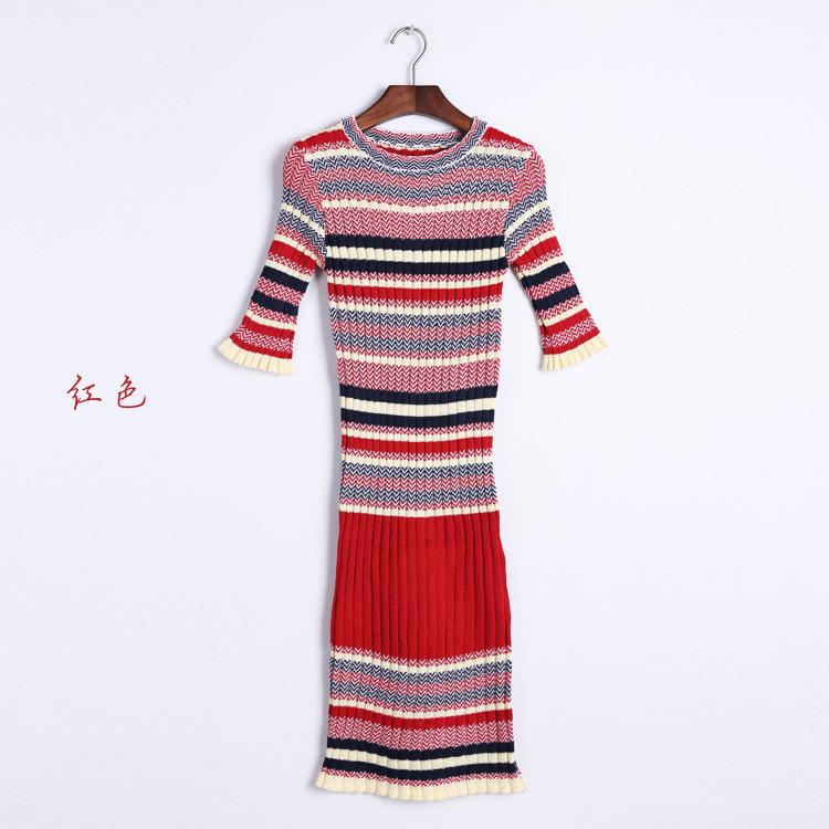 Alpha Autumn Korean Rainbow Striped Knit Dress Women Slim Fishtail Long Bottoming Thick Sweater Dress Red Gray(China (Mainland))