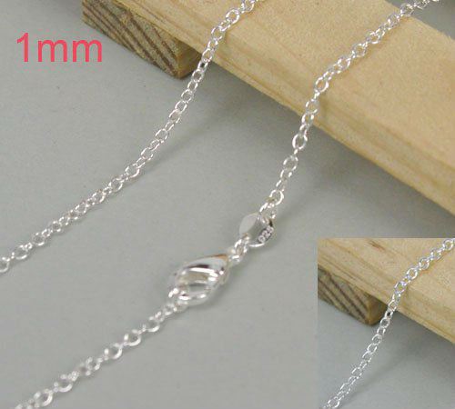 925 Sliver Necklace Fashion Jewelry Wholesale silver Jewelry 603 P401 18 inches 1mm Curb Chain