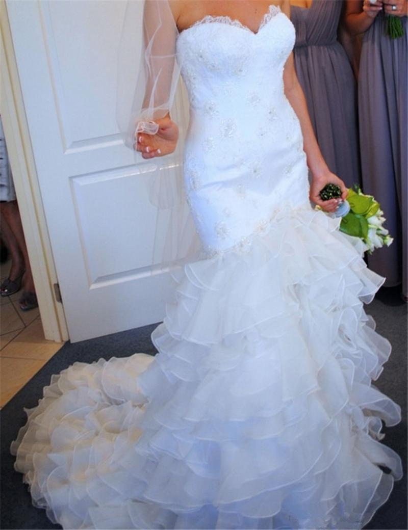 Romantic simple mermaid wedding dresses 2016 elegant bead for Organza trumpet wedding dress