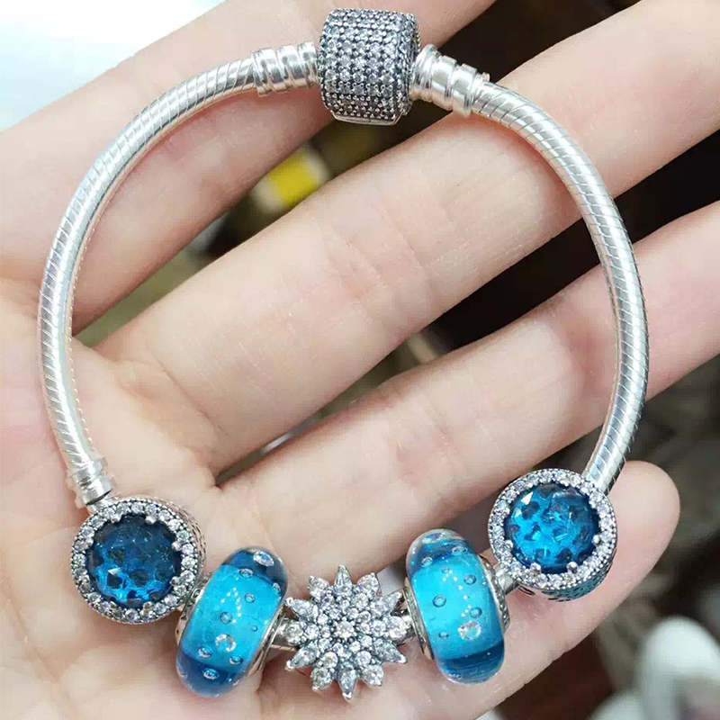 Best Valentines Gift Zircon Snowflake Real 925 Silver Snake Chain Bracelet with Blue Crystals Blue Zircon Beads Charms Bracelet<br><br>Aliexpress
