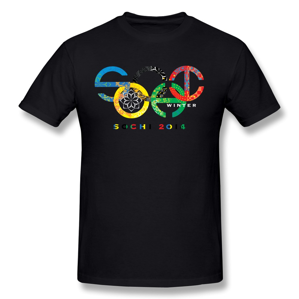 Printed drop shipping sochi 2014 men t shirt o neck for Drop ship t shirt printing