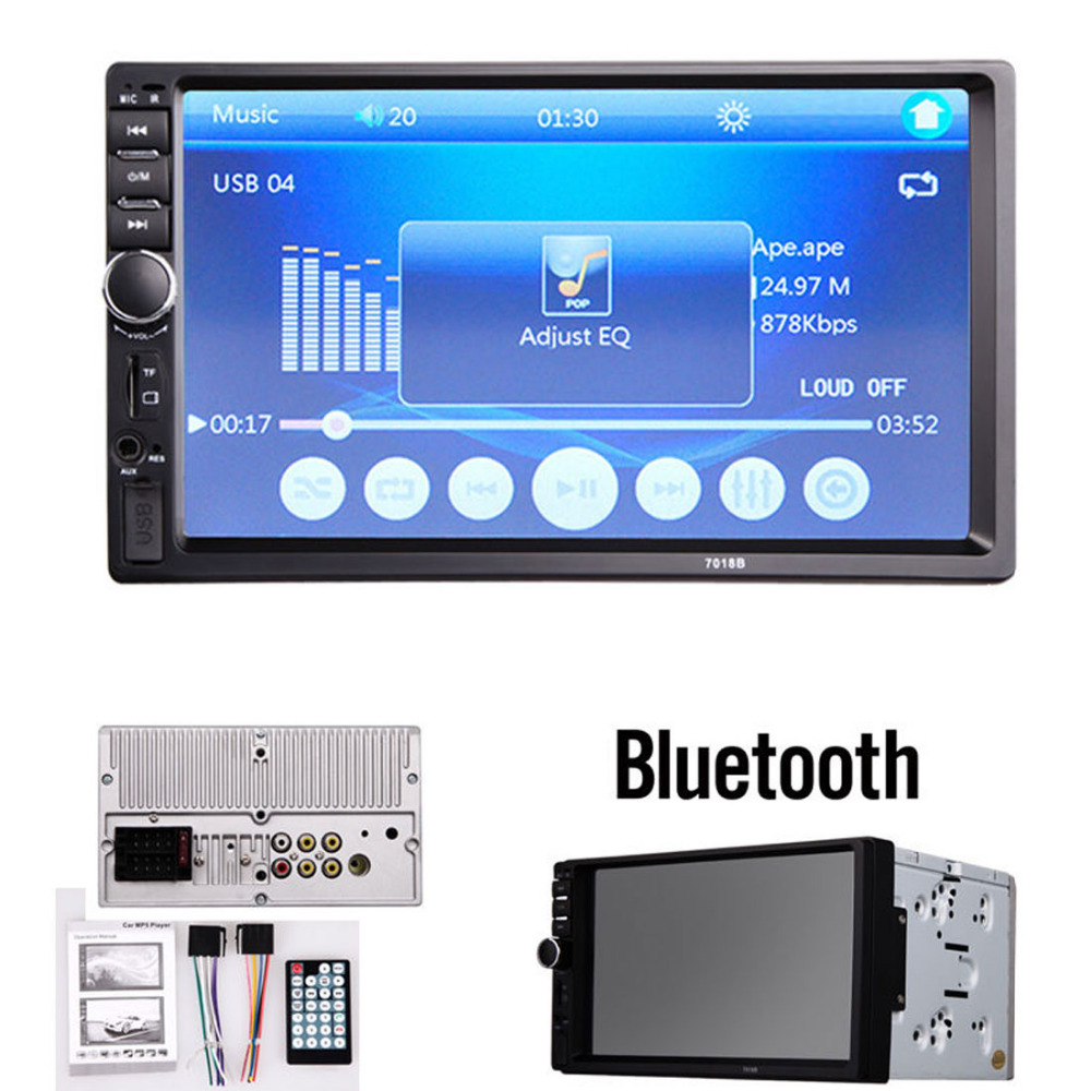 7018B 7 Inch LCD HD 2 DIN Car In-Dash Touch Screen Bluetooth Car Stereo FM MP3 MP5 Radio Player with Wireless Remote Control(China (Mainland))