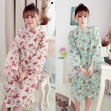RB51 2016  Woman Floral Printed Cotton Kimono Robes ,Wedding Party Bridesmaid Robes(China (Mainland))