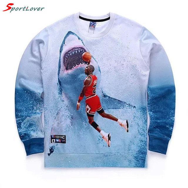 Sportlover 3D sweatshirt men womens casual hoodie Jordan&shark/James print fashion streetwear long sleeve tops