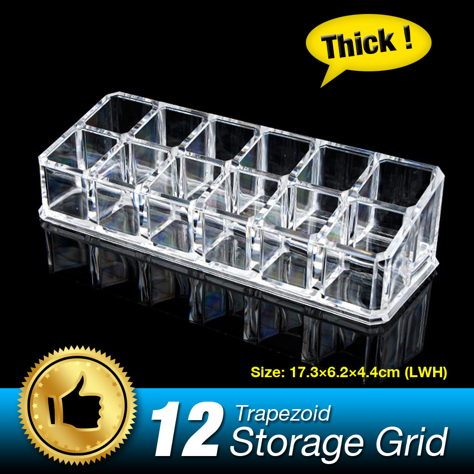 Free Shipping 12 Grids Lipstick Case Cosmetic Storage Box Make up Organizer Display Stand Nail Art Container Brand Clear Acrylic(China (Mainland))