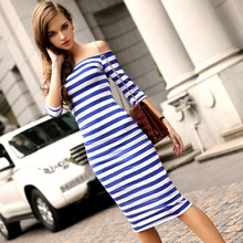Women Stripes Half Sleeve Knee Length Midi Casual Off the Shoulder Bodycon Pencil Dress 2015 Fashion 3 Colors 58(China (Mainland))