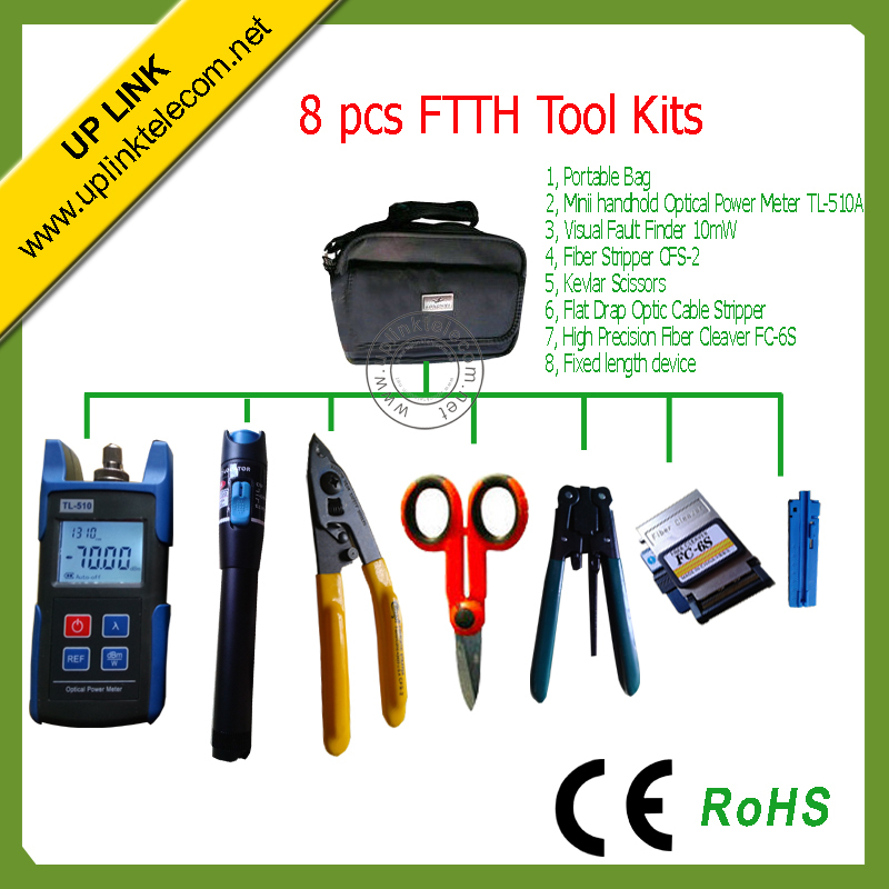 8pcs/set Optical Fiber FTTH Assembly Optical Fiber Termination Tool Kit with FC-6S Fiber Cleaver and 10mW Visual Fault Finder(China (Mainland))