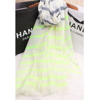 discount  new  fashion   2014 fresh scarf large cape autumn and winter female color block neon color stripe cotton