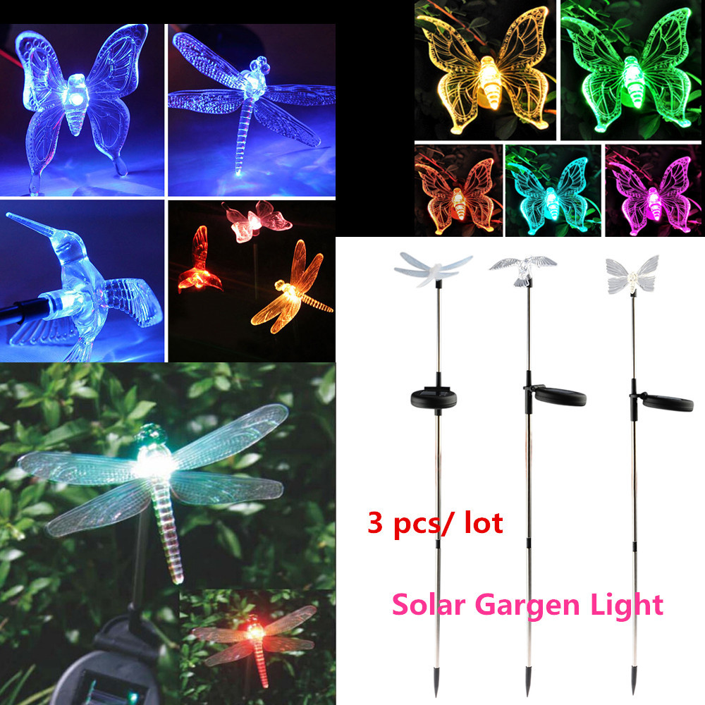 3pcs garden decoration Solar powered outdoor Led Light Bird Butterfly Dragonfly Solar lamp Landscape Multi-color Set Halloween(China (Mainland))