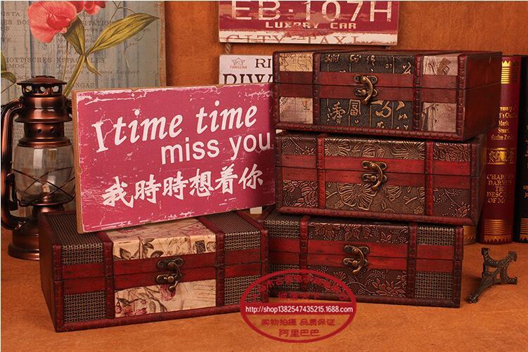 Continental retro antique wooden treasure chest of small wooden storage box creativity jewelry box Korea princess jewelry box(China (Mainland))