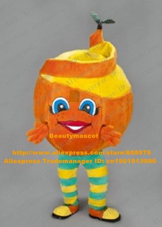 Sweet Orange Arancia Mascot Costume Mascotte Mandarin Tangerine Mandarino With Paring Peels Big Blue Black Eyes No.7119 Free Sh(China (Mainland))