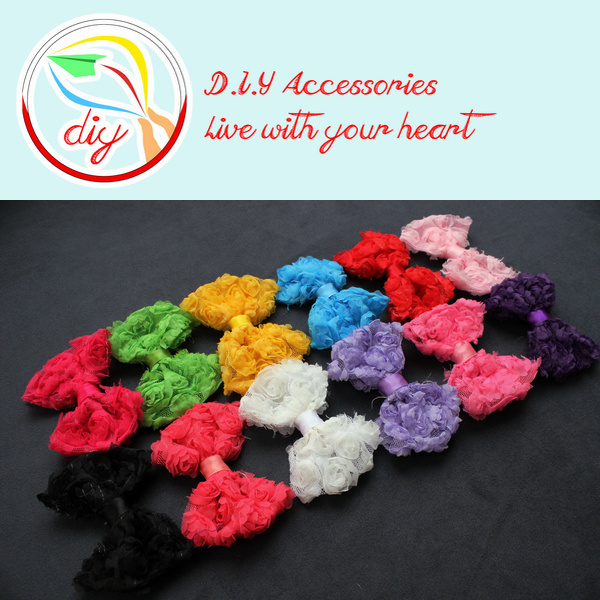"""(60 pieces/lot) 3"""" chiffon rose trim bows,diy baby headband,shoes and garments accessories flowers(12 colors)(China (Mainland))"""