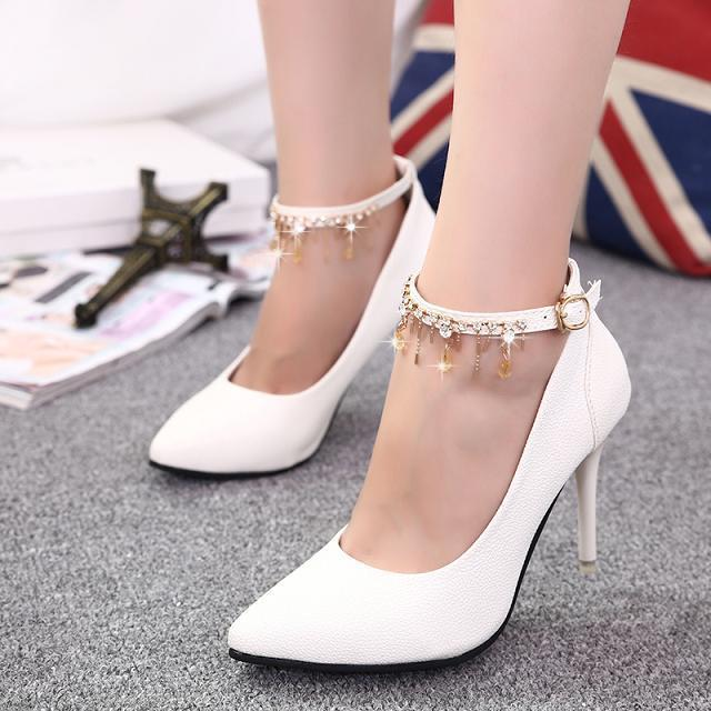 Women's Chunky High Heels Ankle Strap Mary Jane Glitter Faux Leather Wedding Bridal Classic Pumps Ladies Shoes Woman #808 - Fashion Showing Store store