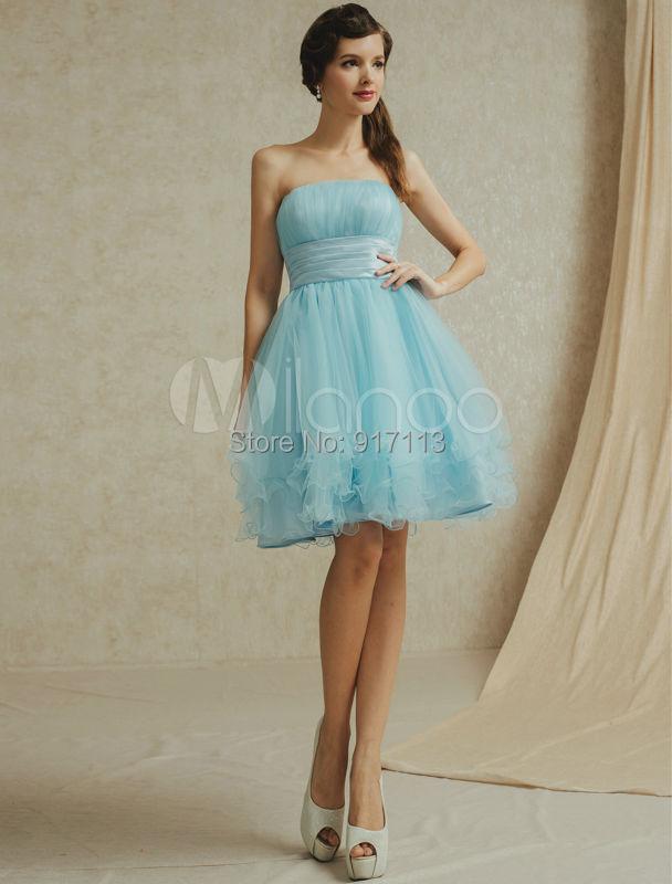 Vestido de festa curto sexy short strapless tulle light for Short light blue wedding dress