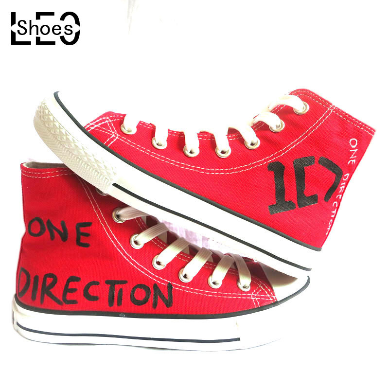 LEO Adult Unisex Graffiti Hand Painted Canvas Shoes High Top Style ID One Direction Design Men Women Red Fashion Shoes(China (Mainland))