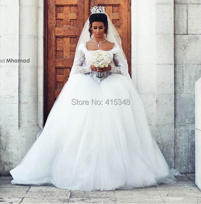 Long Sleeve Wedding Dresses Size 14 : Long sleeve tulle applique wedding dress bride gown custom made size