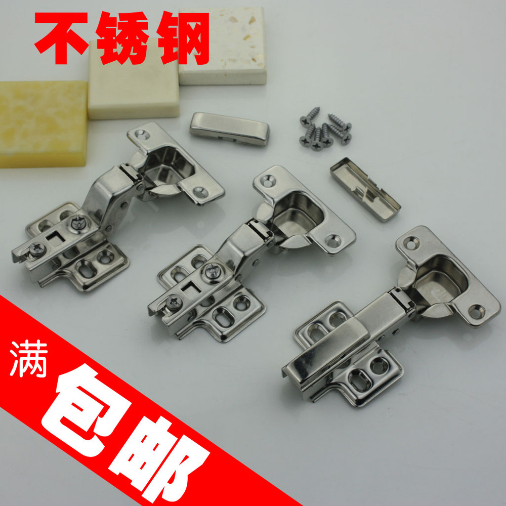 Stainless steel hydraulic cushioning kitchen door hinge cabinet door cabinet cover half full cover built-in damping hinge aircra(China (Mainland))