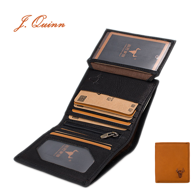 J.Quinn Small Mini Men Wallet Genuine Leather Short Mens Wallets ID Flap Card Zip Purse Top Grain Cow Women Bifold Purses(China (Mainland))