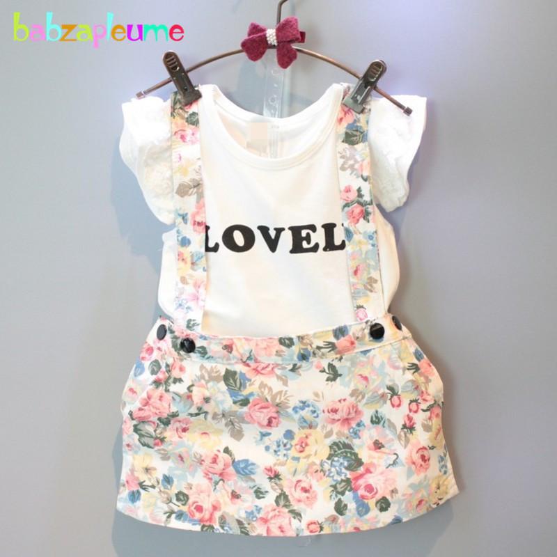 New Brand 1-7ages Kids Clothes infant Short Sleeve T-Shirt+Skirt Baby set Flower Designer Fashion Toddler Girls Clothing BC1050(China (Mainland))