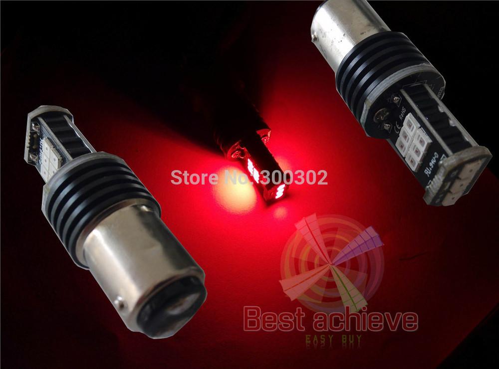 2PCS 1157 BAY15D 11W 600Lumens 15LED 2835 RED Samsung LED Backup Turn Signal Light Bulb led brighter than 7.5W(China (Mainland))