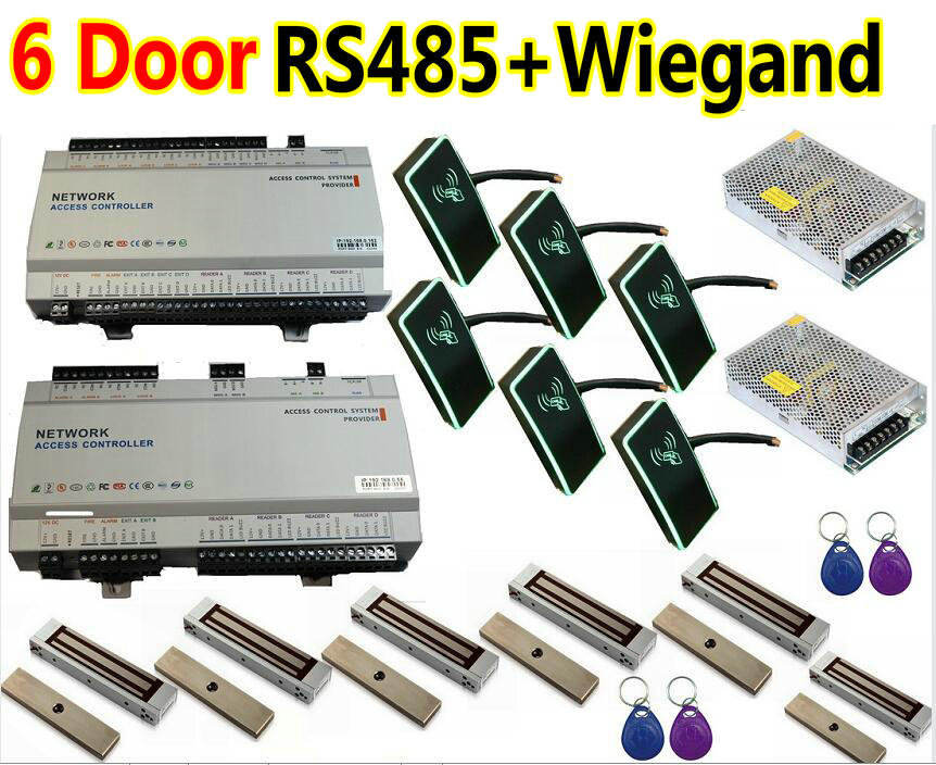 6 Door RS485 Communication Full Kit Same Software 6 Door Access Controller Panel +6pcs RFID Readers+6pcs Magnetic Lock+softwware(China (Mainland))
