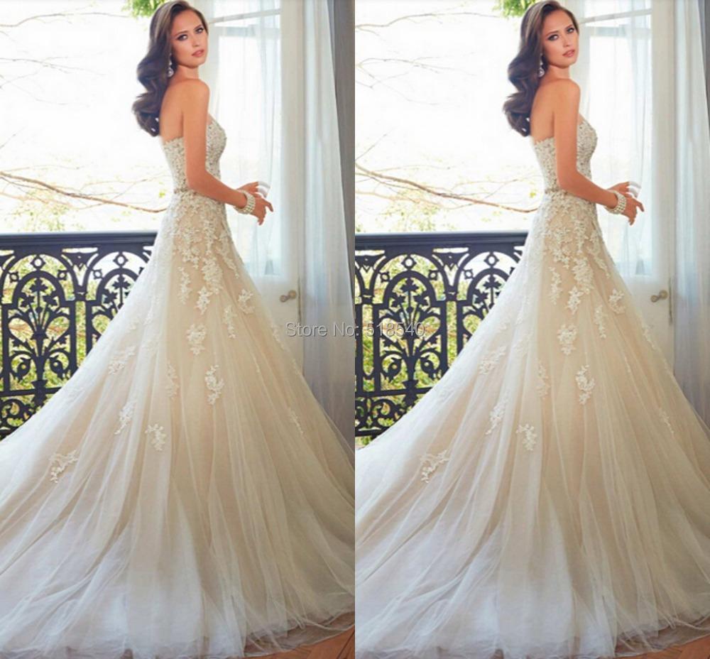 MM1 vestido de noiva casamento fashion shoulder a-line lace applique beads wedding dresses 2015 white tulle long bridal gown - Moonrabbit Boutique store