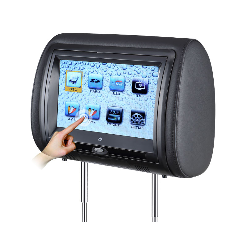 2 PCS 7 Inch Touch Screen Car Headrest DVD Player Monitor With 800*480 TFT LED Support FM USB Games Remote Control(China (Mainland))