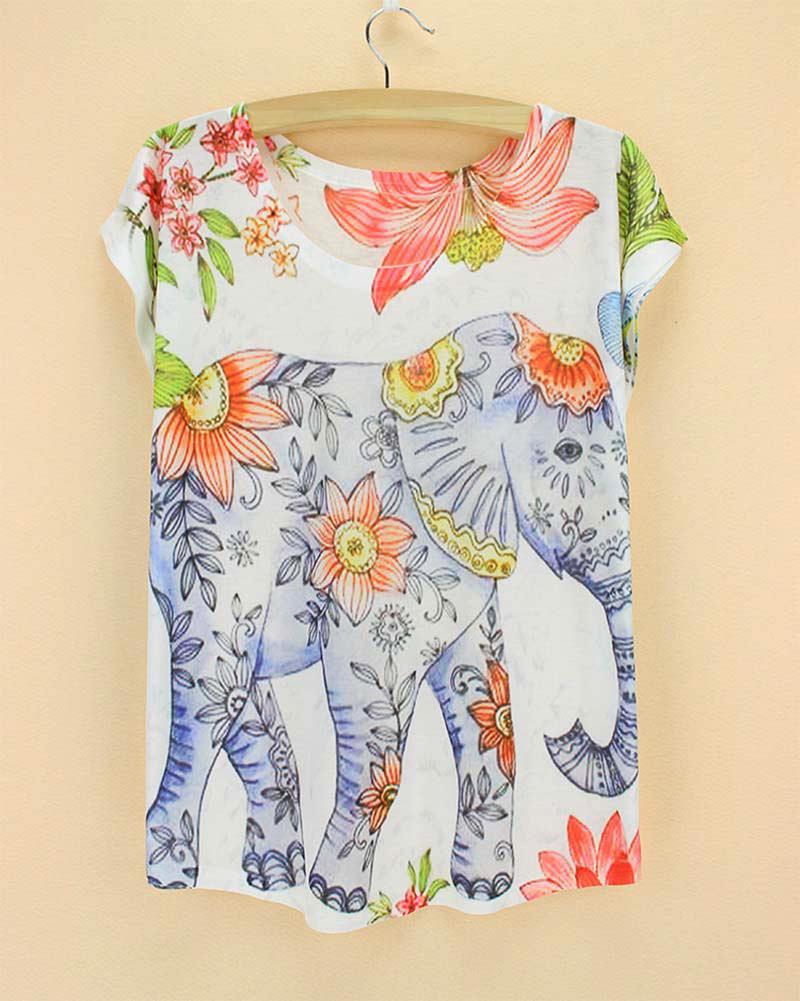 Elephant pattern tshirt women 2015 new arrival summer dress girls novelty printed top tees short sleeve drop shipping(China (Mainland))