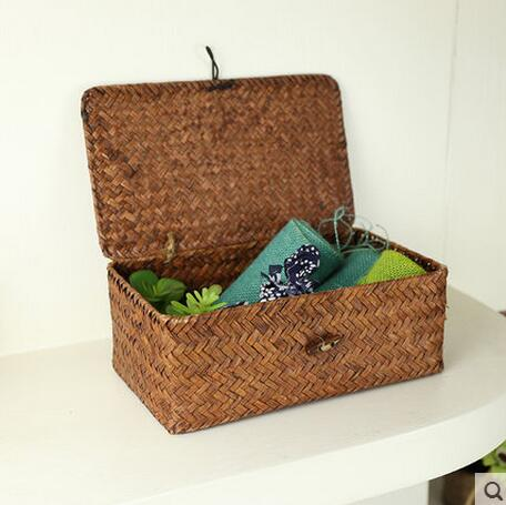 25CM*15CM*9CM straw braid storage gift box desktop finishing box jewelry box sundries box clamshell(China (Mainland))