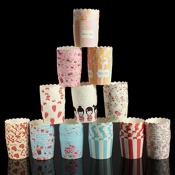Hot Sale 50 pieces/lot Cupcake Baking Cups Multi Pattern Greaseproof Paper Cake Tools (4.8 X 4.7 X 5.5cm)(China (Mainland))