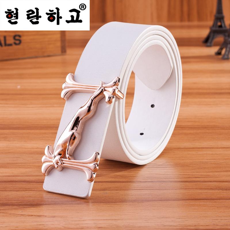 2016 hot sale high-end luxury brand Jaguar belt neutral high quality leather harajuku belt metal buckle belts and crime(China (Mainland))