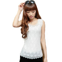 New 2014 Solid chiffon vest women Blouses & Shirts knitted Sexy Hollow Out Lace tops  ladies basic sleeveless tank tops hot sale