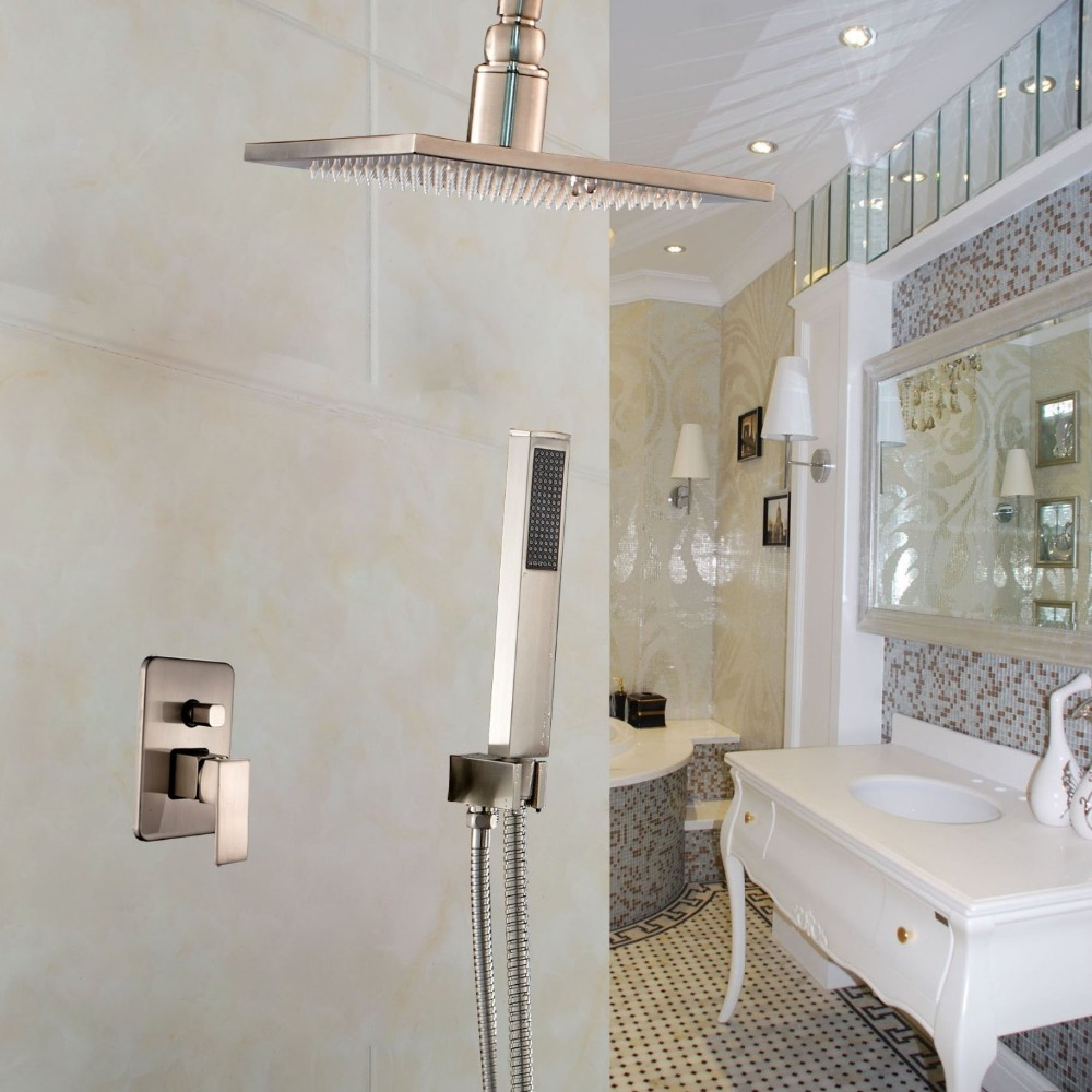Bathroom Shower Faucet Set Brushed Nickel Ceiling Mount 10