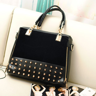 new female bag rivet package stitching flannel bag shoulder bag fashion handbag