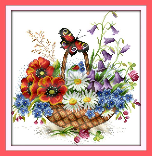 Цветочные корзины и красивая бабочка DMC Счетный Китайский Вышивки Крестом Комплекты печатных вышивка крестом набор для Вышивания Рукоделие
