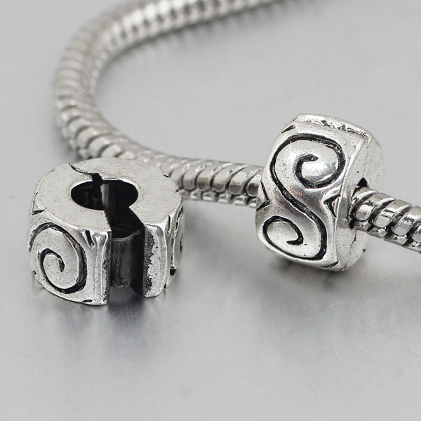 free shipping 1pc silver clip heart stopper bead charm Fits European Pandora Charm Bracelets PBC036(China (Mainland))