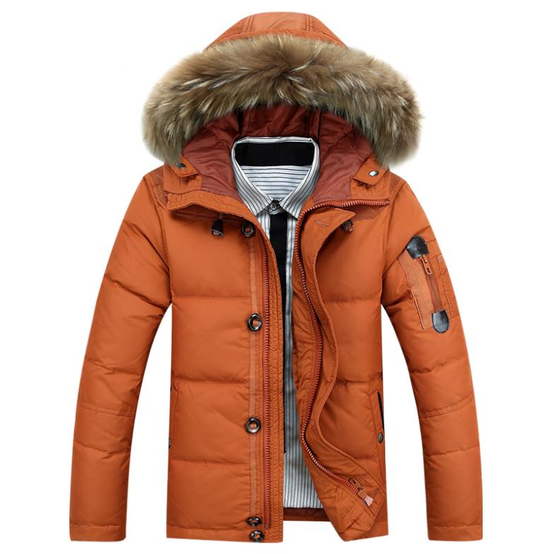 2015 Brand Mens Canada Snow Down Jacket Winter Warm Outdoor Coat 90% White Duck Down Fur Hooded Parka Men Casual Overcoat Hombre(China (Mainland))