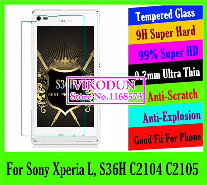 hot projector 0.2mm 9H ultra tempered glass Screen Protector For Sony Xperia L,S36H C2104 C2105 mobile Protective LCD Film phone(China (Mainland))