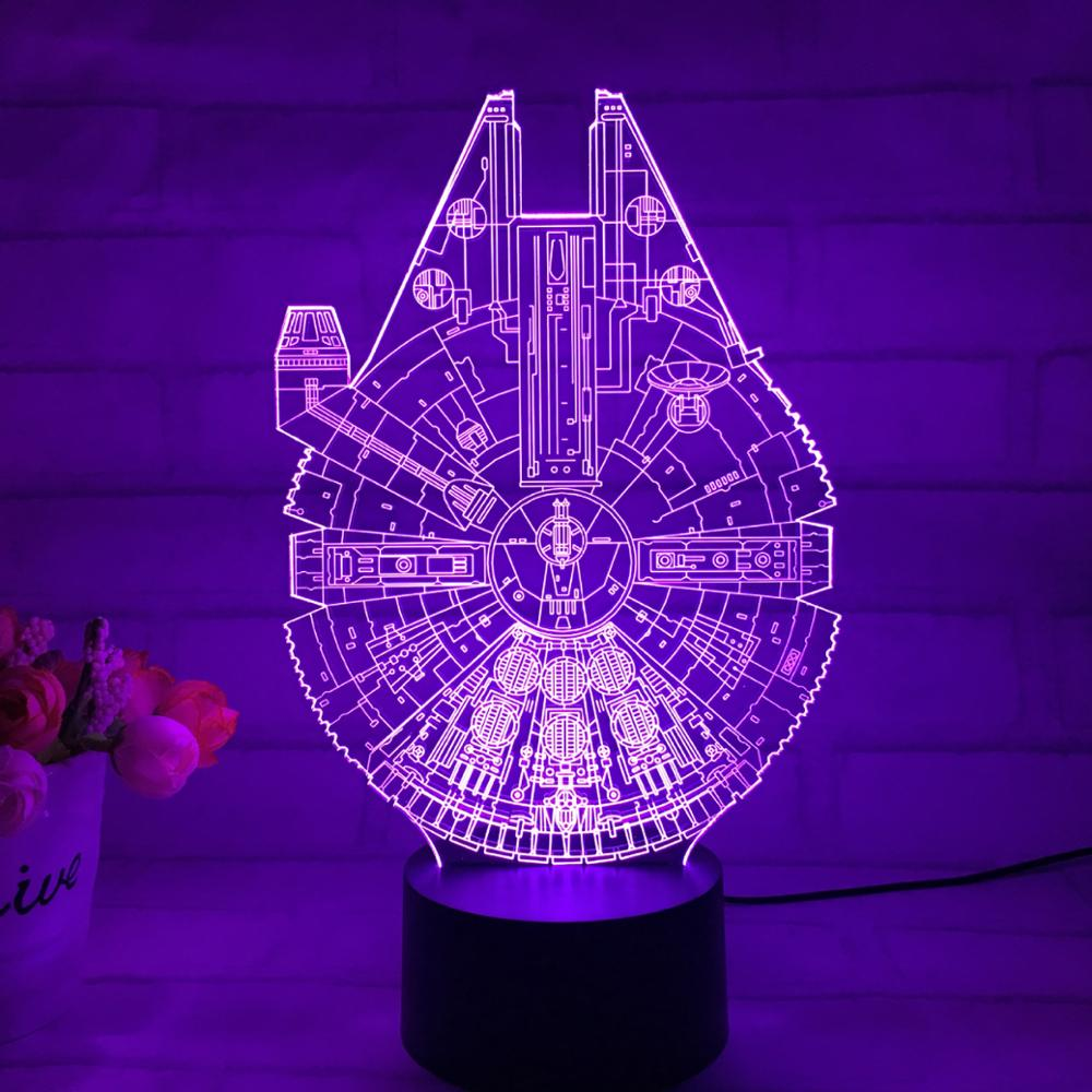 Star Wars Millennium Falcon 3D Anime Cartoon Toys Action Figure 3D Light Color Changed Turtle Nightlights Kids Xtmas Gift(China (Mainland))