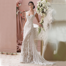 Real Photos 2017 Sexy White Lace Wedding Dress Backless Sleveless Mermaid Wedding Bridal Gowns Sweep Train(China (Mainland))