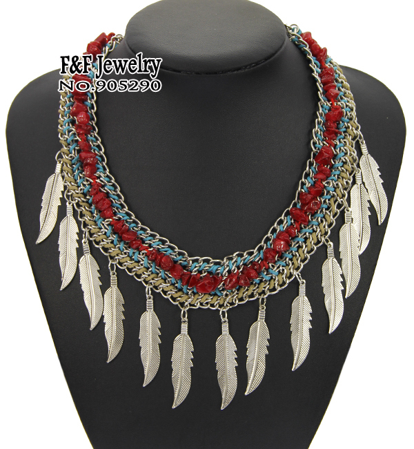 2015 Summer Style Joyas Necklace Women Luxury Jewelry Statement Chunky Red Coral Leaves Pendant Necklace Collares Mujer NDD01(China (Mainland))