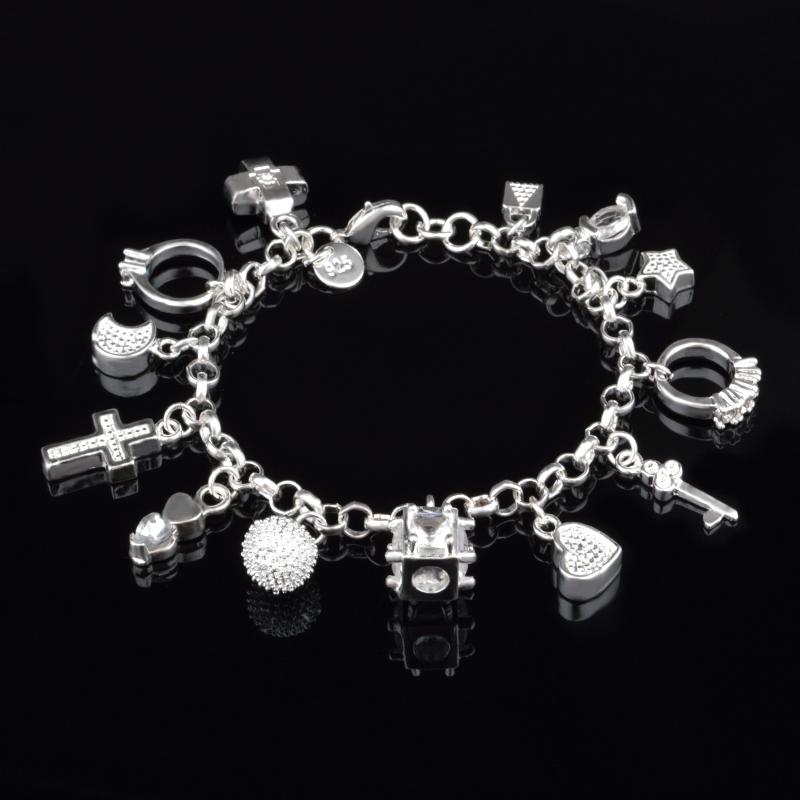 Free Shipping Wholesale 925 Silver Fashion Women Jewelry Cross Star 12 Pendant Charm Bracelets Bangles(China (Mainland))