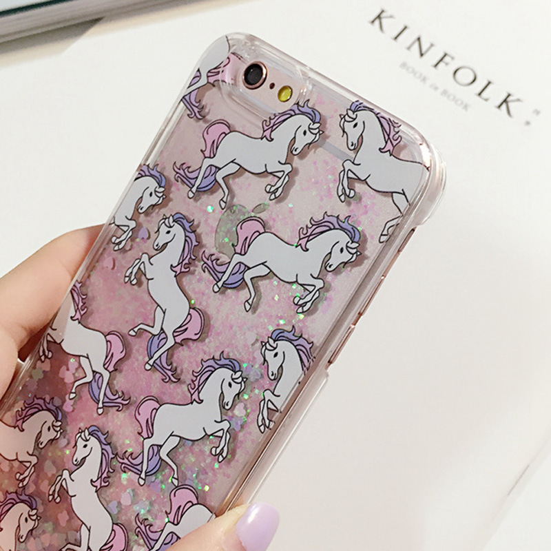 1Unicorn Glitter Liquid Case PC Hard Mobile Phone iPhone5 5s 6 6s plus5.5'' Flying Horse Quicksand Back Cover - Rosemary's store