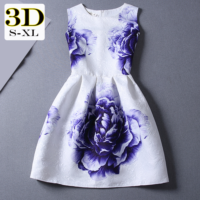 Office Dress Party Evening Elegant Quality Vintage Blue and White Porcelain Big Flower Print Dresses fashionable women clothes(China (Mainland))