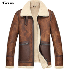 Gours Winter Men's Genuine Leather Jackets Sheepskin Pilot Jacket and Coats Warm Double-faced Fur Flight Suit 2016 New Plus Size(China (Mainland))