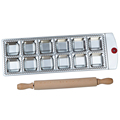12 Square Ravioli Molding Tray Set With a Wooden Rolling Pin Pasta Cutter Pastry Ravioli Maker