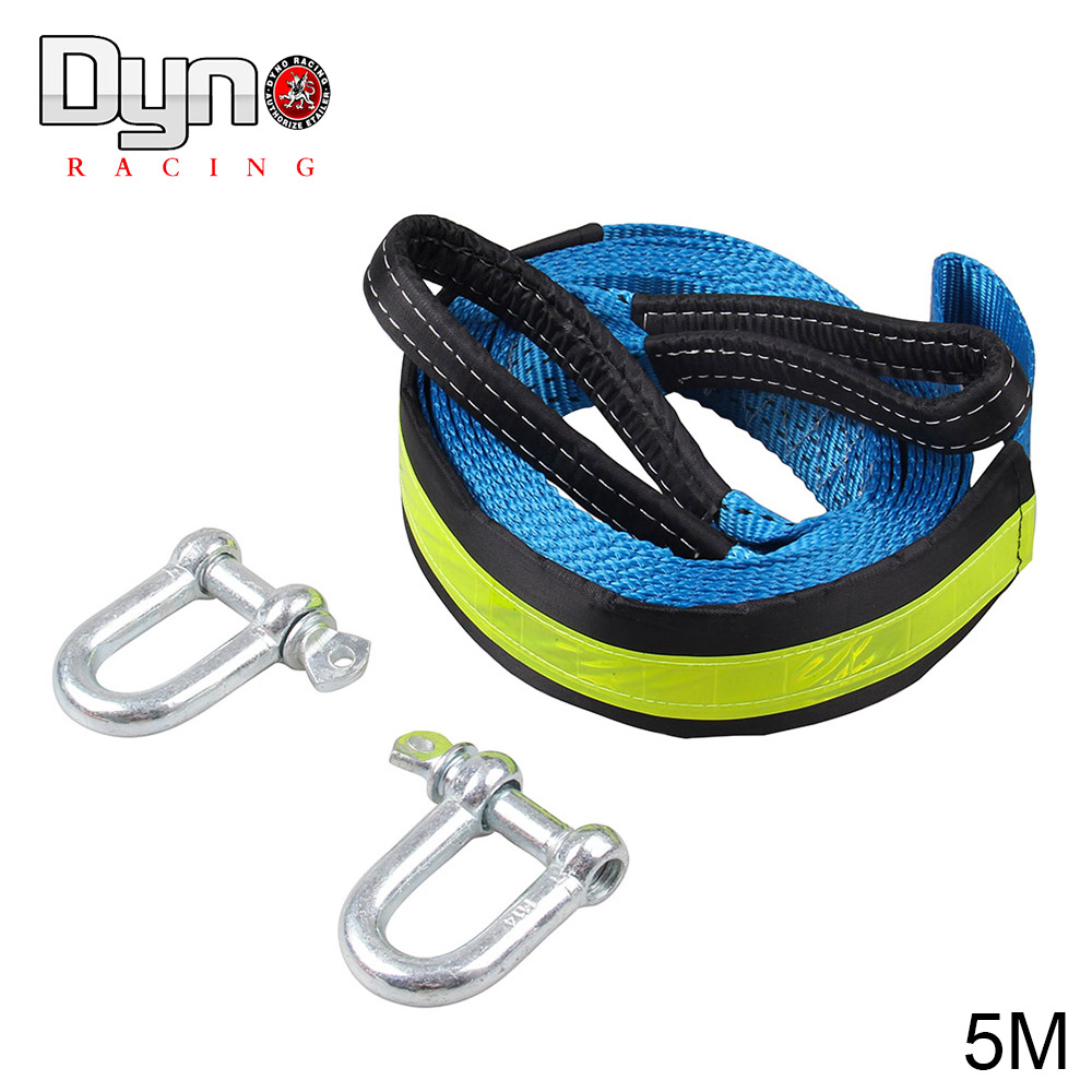 DYNO RACING High Strength Nylon 5M 8Tons Tow Cable Tow Strap Car Towing Rope With Hooks For Heavy Duty Car Emergency With Gloves